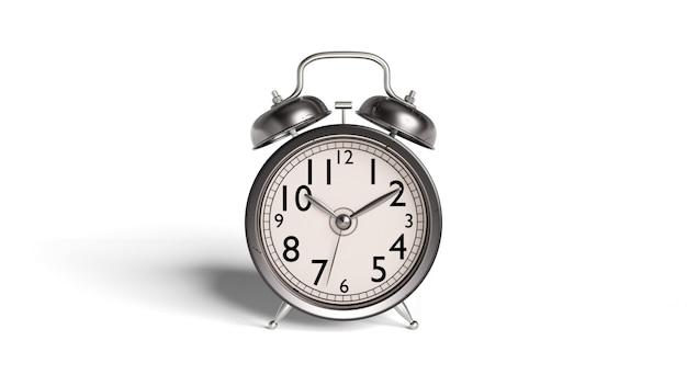 Despertador de estilo antigo e antigo e há vestígios de sujeira e ferrugem com trajeto de grampeamento.