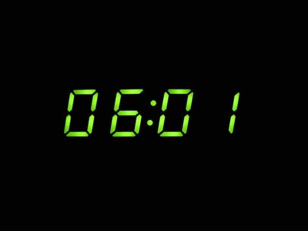 Despertador digital com dígitos verdes