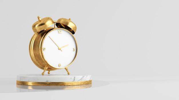 Despertador dourado em renderização 3d de plataforma de mármore