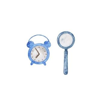 Despertador em aquarela desenhado à mão, lupa isolada no fundo branco