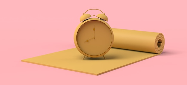 Despertador na tala de fitness. tempo de esporte. ilustração 3d. copie o espaço.