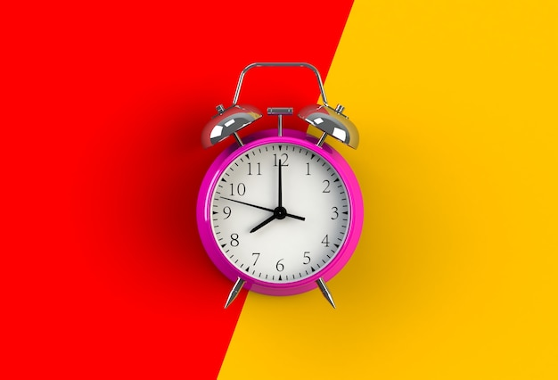 Despertador no fundo vermelho e amarelo, rendição 3d