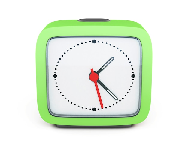 Despertador quadrado isolado no fundo branco. vista frontal. 3d render imagem.