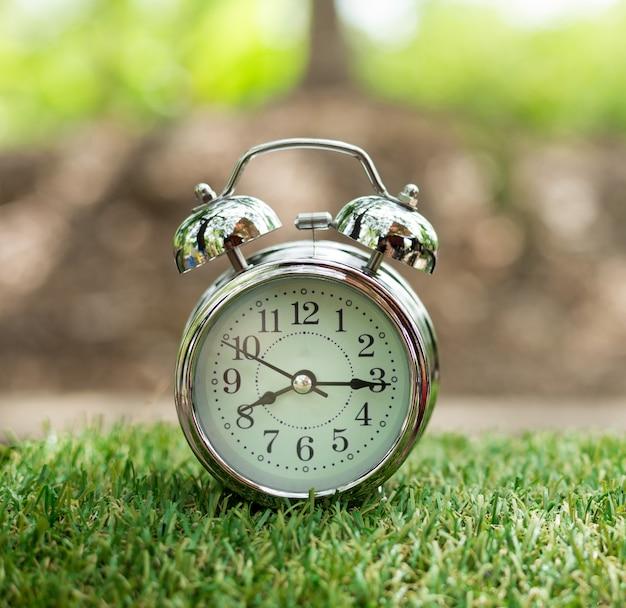 Despertador retrô na grama verde. conceito de tempo