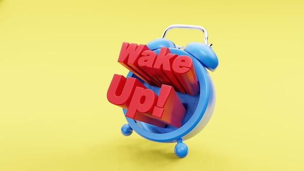 Despertador retro vintage com formulação de acordar conceito de tempo renderização em 3d