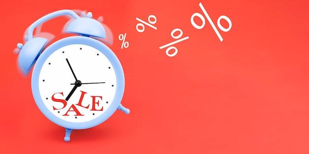 Despertador tocando azul sobre um fundo vermelho. conceito de venda
