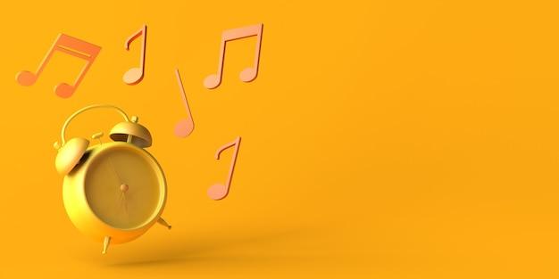 Despertador tocando com notas musicais. copie o espaço. ilustração 3d.