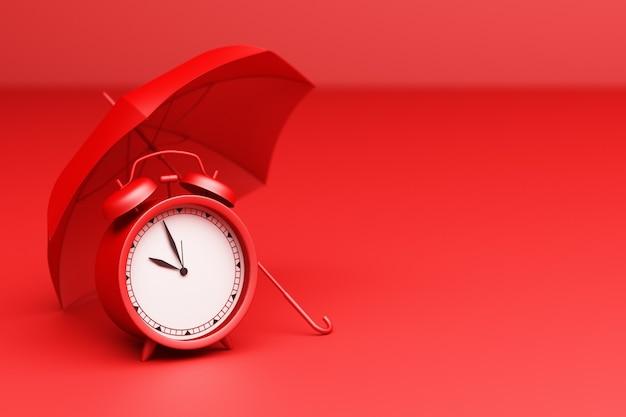 Despertador vermelho com guarda-chuva sobre um fundo vermelho. renderização 3d