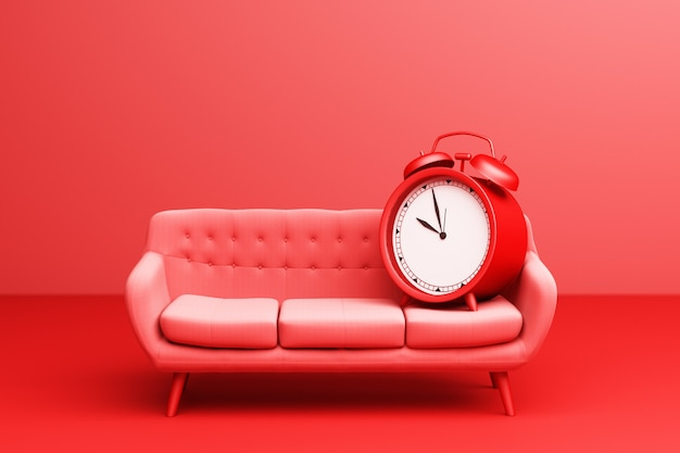 Despertador vermelho com mobília do sofá moderno simples vermelho sobre um fundo vermelho. renderização 3d