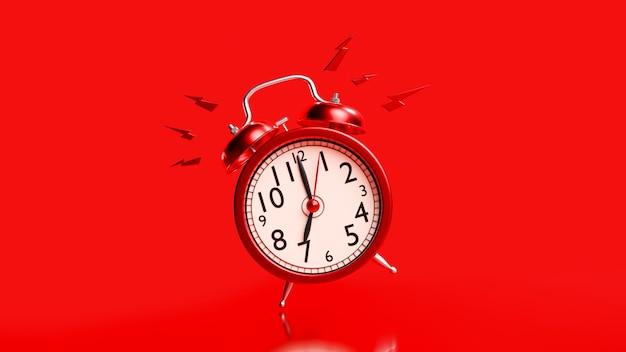 Despertador vermelho com traçado de recorte. alarme às 07h00. conceito de ideia mínima, renderização em 3d.