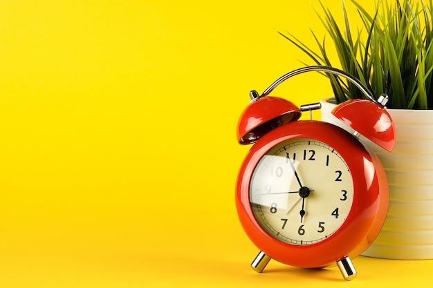 Despertador vermelho em estilo retro. ao lado dela há uma flor em uma panela.