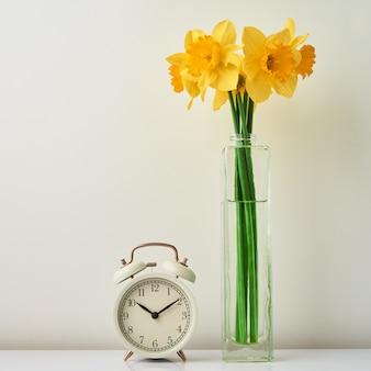 Despertador vintahe e flores de narciso em um vaso no fundo branco