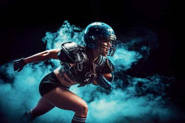 Desportista agressiva jogando rugby
