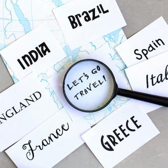 Destino de viagem, seleção de país para viagens, onde ir de férias, mapear lupa