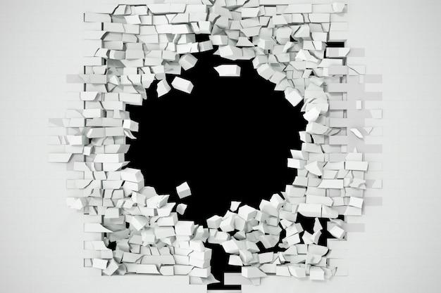 Destruição de uma parede de tijolos brancos para colar qualquer texto