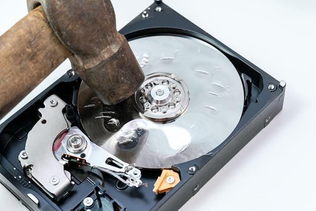 Destruição, exclusão de dados, informações em uma unidade de disco rígido com martelo