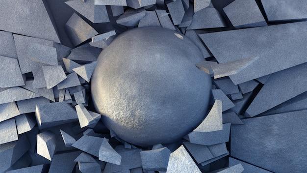 Destruição linda explosão com textura de pedra.
