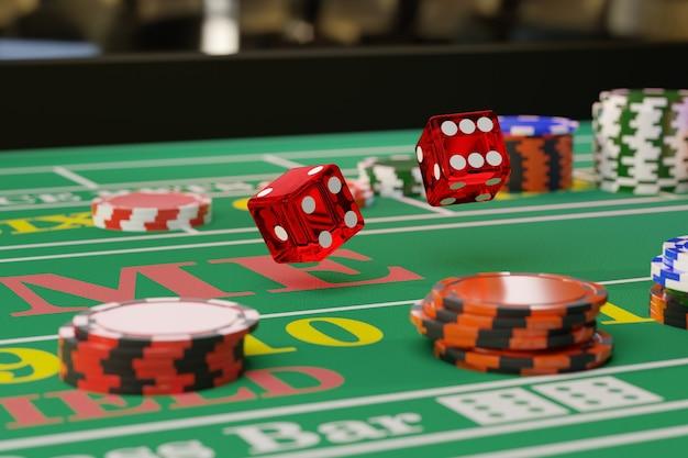 Detalhe a foto de um par de dados rolando em uma mesa de dados. foco seletivo. conceito de jogo.