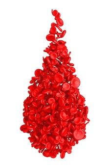 Detalhe alto de células vermelhas do sangue em forma de gota de sangue em um fundo branco. renderização 3d