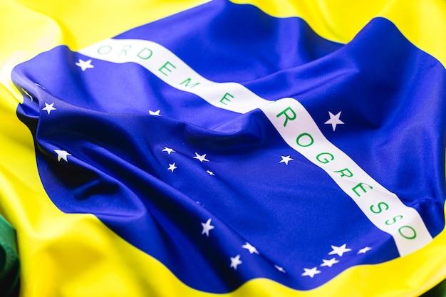 Detalhe da bandeira do brasil, em macro fotografia