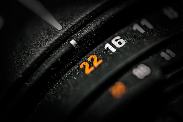 Detalhe da lente da câmera dslr