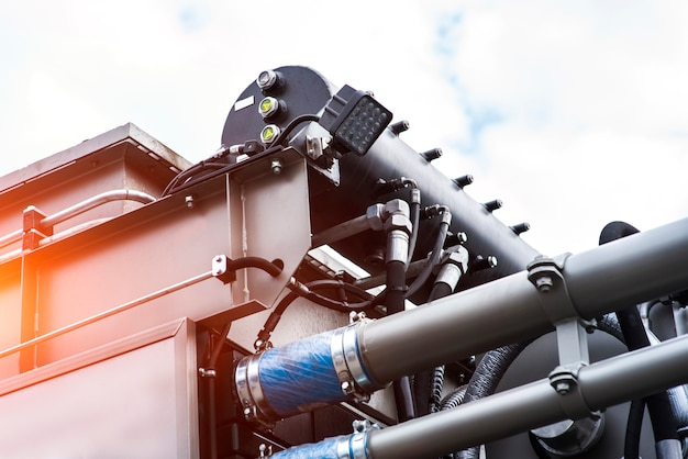 Detalhe da máquina de tubulação espiralada para trabalhar nos campos de petróleo