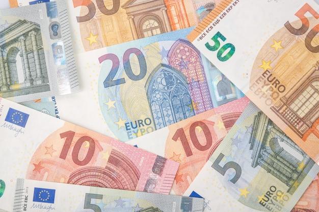 Detalhe das notas da união europeia