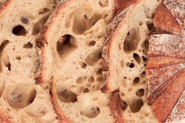Detalhe, de, assado, pão, fatias