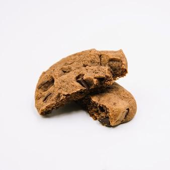 Detalhe, de, chocolate, biscoitos, branco, fundo