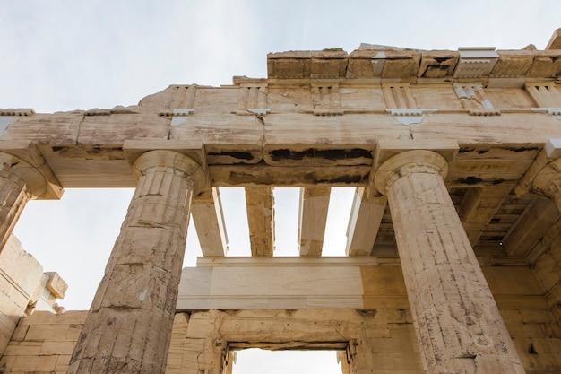 Detalhe de close na entrada da acrópole