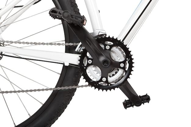 Detalhe de mountain bike em branco