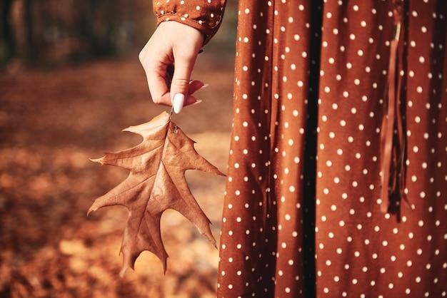 Detalhe de mulher irreconhecível segurando folha