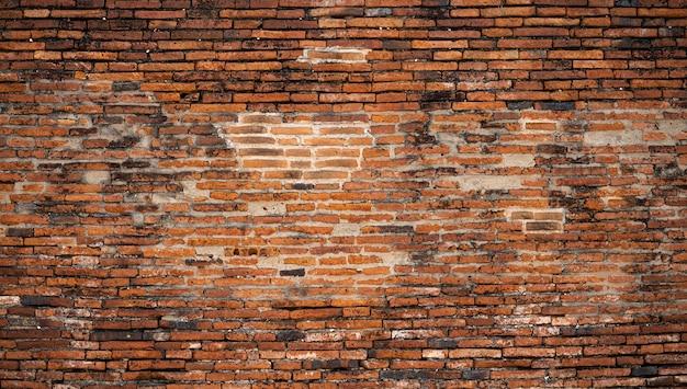 Detalhe de superfície de parede de tijolo antigo do templo tailandês na tailândia
