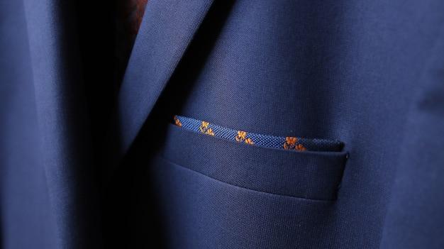 Detalhe de tecido, close-up do bolso da jaqueta, fundo da moda para sua mensagem