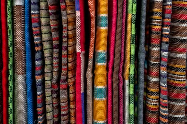 Detalhe de tecido de loja de tapete ou tapete