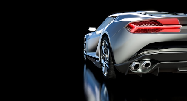 Detalhe de um carro esportivo visto de trás. renderização 3d.