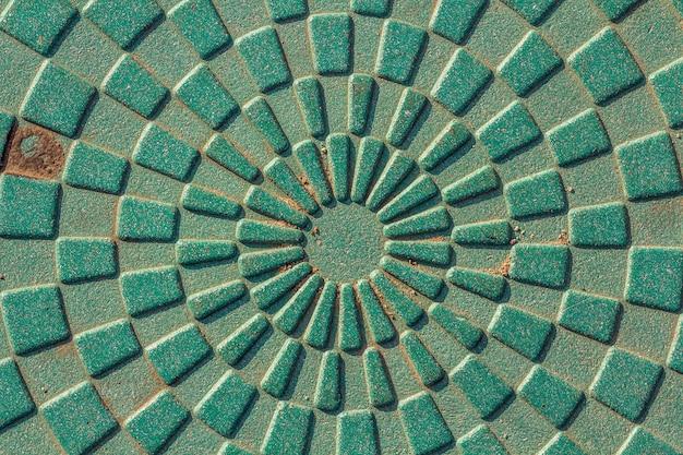 Detalhe do close-up de textura abstrata verde da forma redonda.