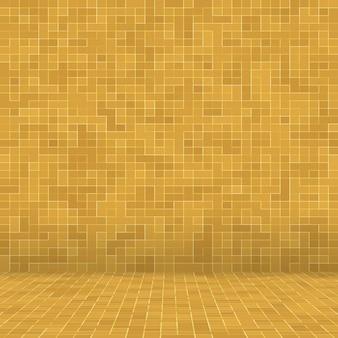 Detalhe do edifício adornado do mosaico cerâmico abstrato da textura mosiac do ouro amarelo.