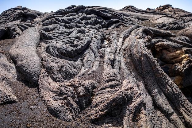 Detalhe do fluxo de lava no pico do fogo, cabo verde