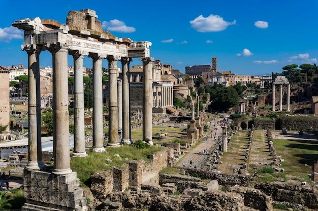 Detalhe do fórum romano em roma, itália