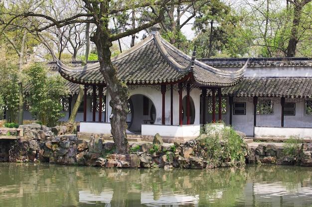 Detalhe do jardim do humilde administrador. suzhou, china