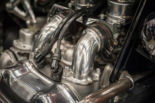 Detalhe do motor da motocicleta