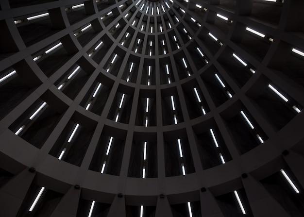Detalhe do teto de um edifício moderno. linhas em prespectiva moldadas pela luz solar externa. contexto útil.