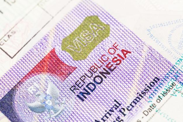Detalhe do visto para a indonésia de 2014 no passaporte