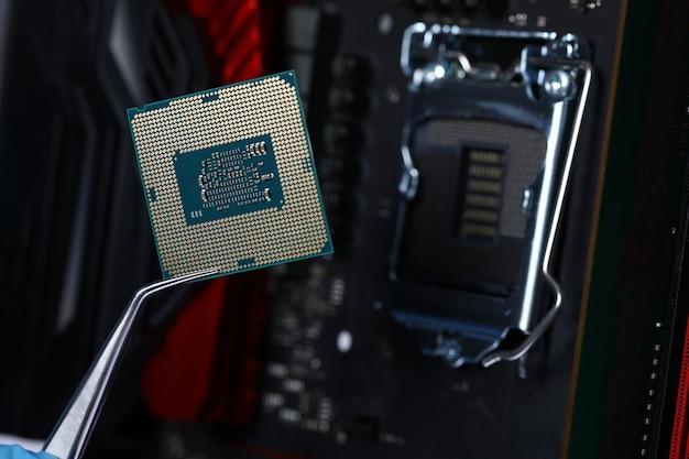 Detalhe metálico minúsculo para closeup de processador pc