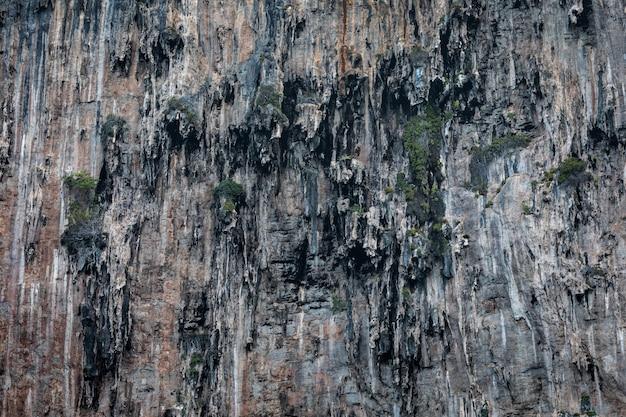 Detalhes da textura do penhasco da rocha na ilha do bi kra do mar tailândia