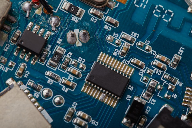 Detalhes de close up da placa de circuito eletrônico.