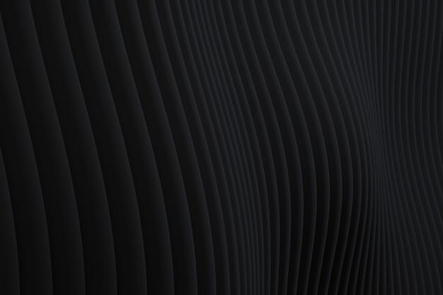 Detalhes de fundo preto de arquitetura de onda de parede abstrata
