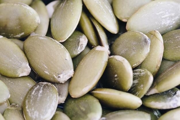 Detalhes de macro de sementes de abóbora, tubos
