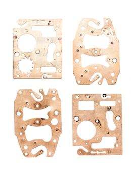 Detalhes de steampunk isolados no branco. detalhes de relógios mecânicos e engrenagens para design